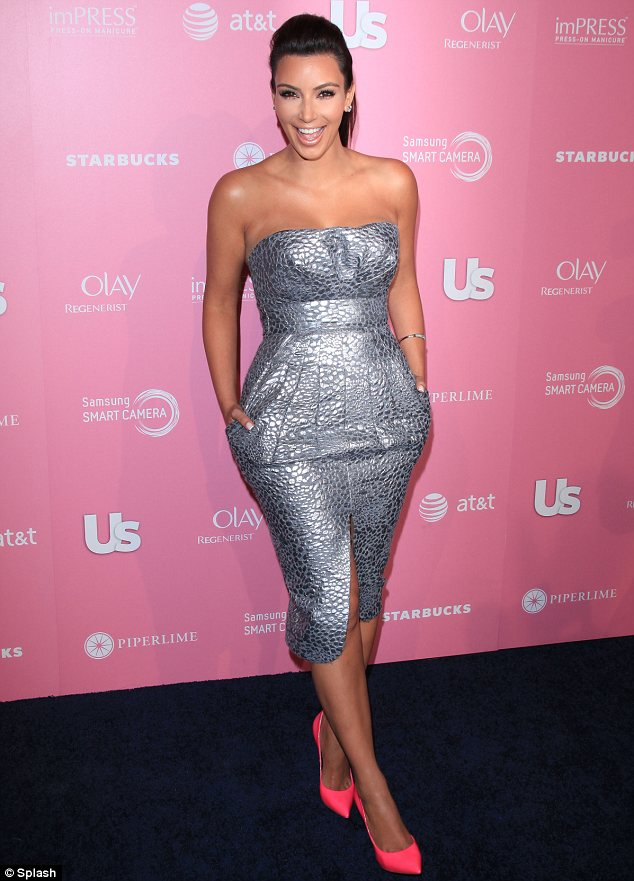 Flashing her metal: Earlier this week Kim stepped out at the US Weekly Hot Hollywood event in a strapless silver dress