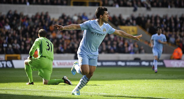Off and running: Sergio Aguero celebrates putting Manchester City in front against Wolves