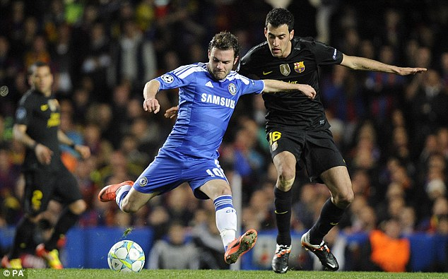 Reign in Spain: Juan Mata (left) will hope Chelsea can avoid defeat at Barcelona