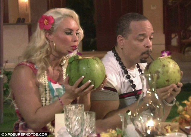 What a weekend: The couple sipped cocktails out of coconuts as they wrapped up their romantic weekend