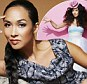 Hat's off to her: Myleene Klass goes overboard for this season's pastels in a candyfloss dress
