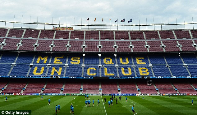 Calm before the storm: The two teams have been training at the Nou Camp