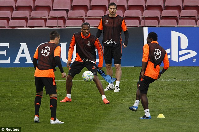 In the framer: Drogba is battling hard to be fit for the semi-final clash at the Nou Camp