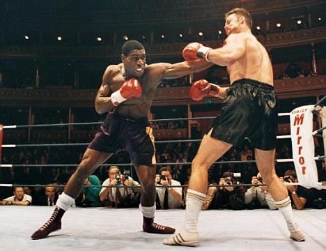 Old stomping ground: Bruno (left) takes on John Emmen in 1991