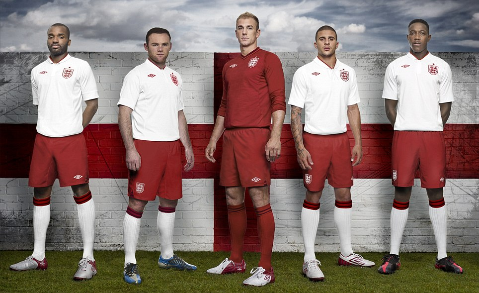 Kitted out: England will go for glory in Poland and Ukraine wearing the latest offering from Umbro
