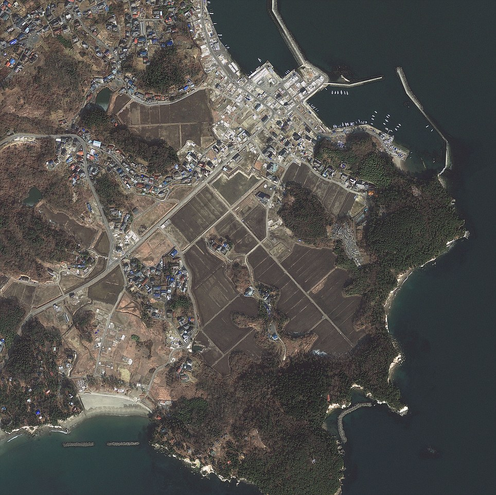 Japan's Sendai as captured by GeoEye's high-resolution imager