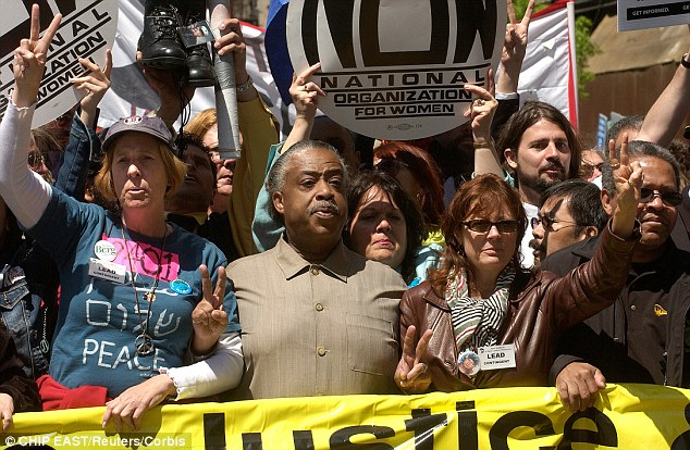 Vocal: Sarandon, right, is pictured with anti-war activists Cindy Sheehan, left, and Rev. Al Sharpton, centre, to protest the war in Iraq in New York City in April 2006