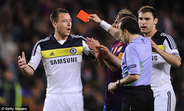 Kneesy does it: Chelsea's John Terry is sent off for digging his knee into Alexis Sanchez's back