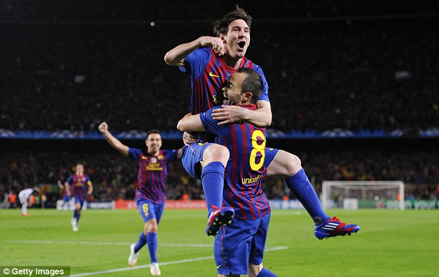 Double trouble: Andres Iniesta fires Barcelona into a 2-1 aggregate lead