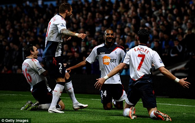 All smiles: David Ngog (second right) celebrates with his team-mates after firing Bolton ahead