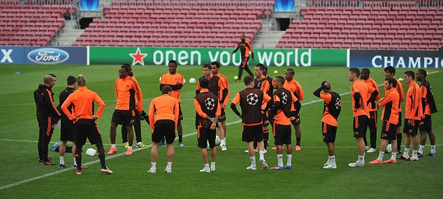 Centre of attention: Chelsea arrive in Spain with a slender advantage in their semi-final clash