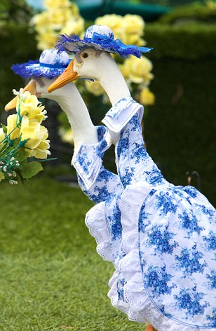 This pair of glamorous geese wowed the crowds in their matching ensembles
