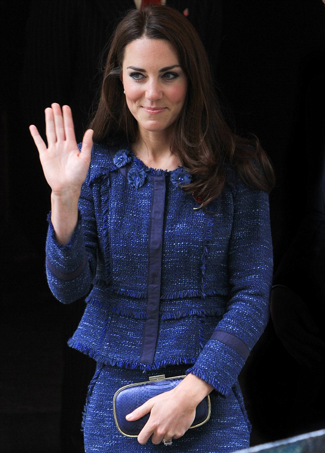 Even Duchesses get the blues: Kate wore an indigo tweed Rebecca Taylor suit for her visit to Goldsmiths' Hall today