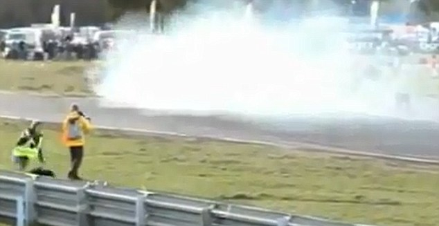 Whoops: It was only as the tyre came within 30cm that he finally noticed what was going on