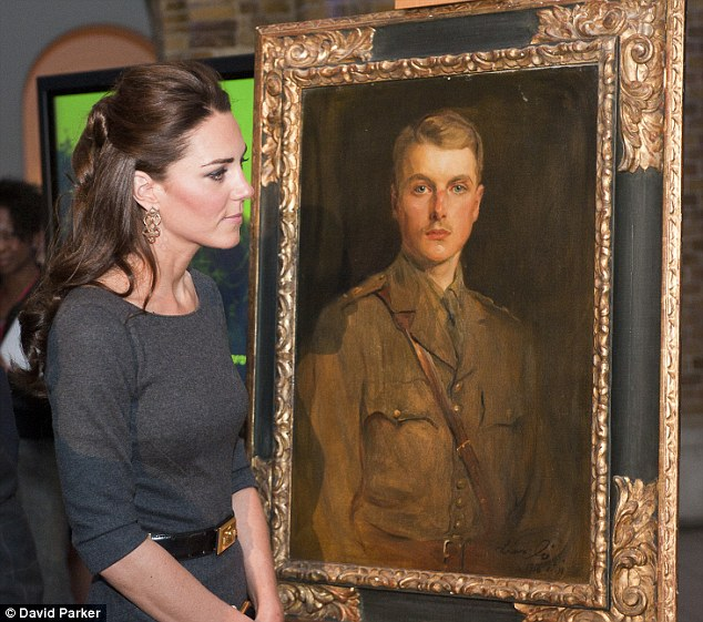 Admiring look: The Duchess of Cambridge with a portrait of a relative of Lord Rothermere