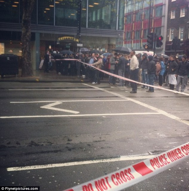 The cordon on Tottenham Court Road