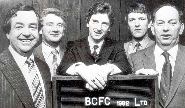Long career: Roy Hodgson (centre) with the Bristol City board in 1982