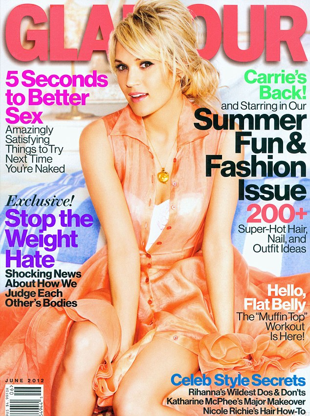 Pretty as a peach: Carrie sports a silky button-up apricot coloured dress on the cover of the June issue of Glamour magazine sue of Glamour magazine