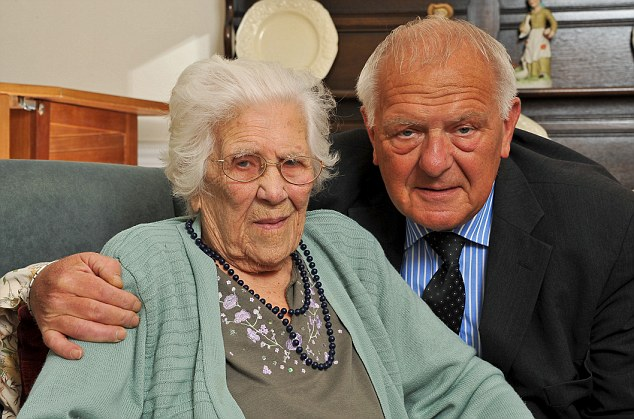 Harrowing delay: Doris Miller, 96, with her son Michael, who had been frantically searching for her