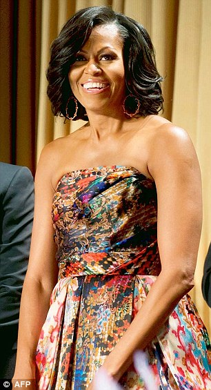 Style: First Lady Michelle Obama wears a Naeem Khan gown to the White House Correspondents' Dinner in Washington, DC on Saturday evening
