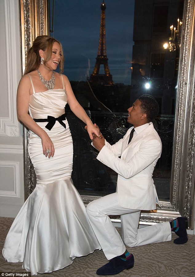Ooh la la: Mariah and Nick Cannon renewed their wedding vows to in Paris on Friday