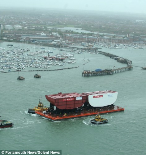 An aerial photograph of HMS Queen Elizabeth's stern sections leaving Portsmouth Naval Base in Hampshire.