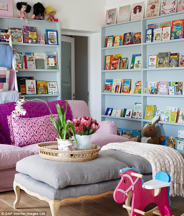 Commission a carpenter to build shallow-depth shelving, and display books¿ front covers rather than spines. Children will be able to choose a bedtime story at a glance.