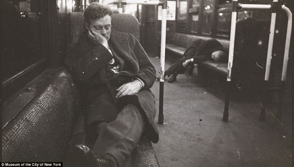 Sleepy: Scenes of slumbering commuters are not dissimilar to those of today