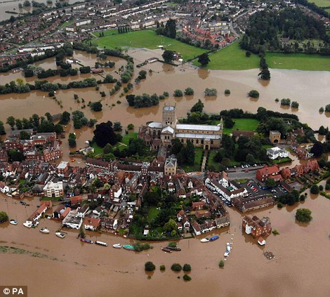 A view from the air of Tewkesbury Abbey, Gloucestershire, following torrential rain in the last 24 hours on July 22, 2007