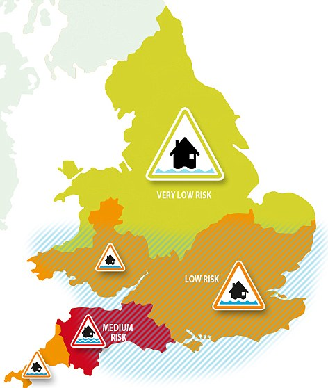 Threat levels: The Environment Agency remains on 'high alert' for flooding, with particular focus on the south-west counties of Somerset, Dorset and Devon, as shown in this map for today's risk assessment