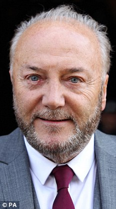 Intruder alert: Respect MP George Galloway (above) suspects a homeless man has been living in his London mansion after discovering a bottle of gin and a gay video