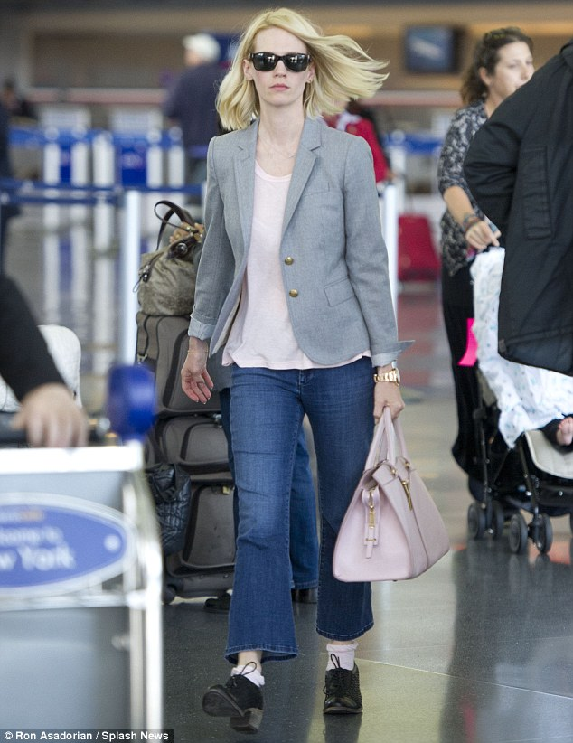 Homeward bound: The actress was spotted arriving into JFK Airport in New York today