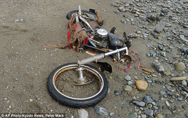 Rusty and mangled: By the time Peter went back to get the bike, the shipping container had been washed away and the Harley, in much worse condition, was half buried in the sand