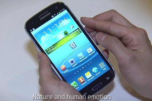 Ready for launch: A still from Samsung's presentation reveals the S3 for the first time