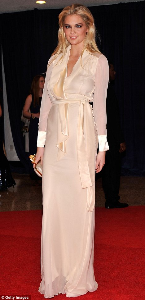Wannabe: Kate Upton, pictured at the White House Correspondent's Association Dinner over the weekend, has allegedly bought a ticket to the Met Ball for $25,000