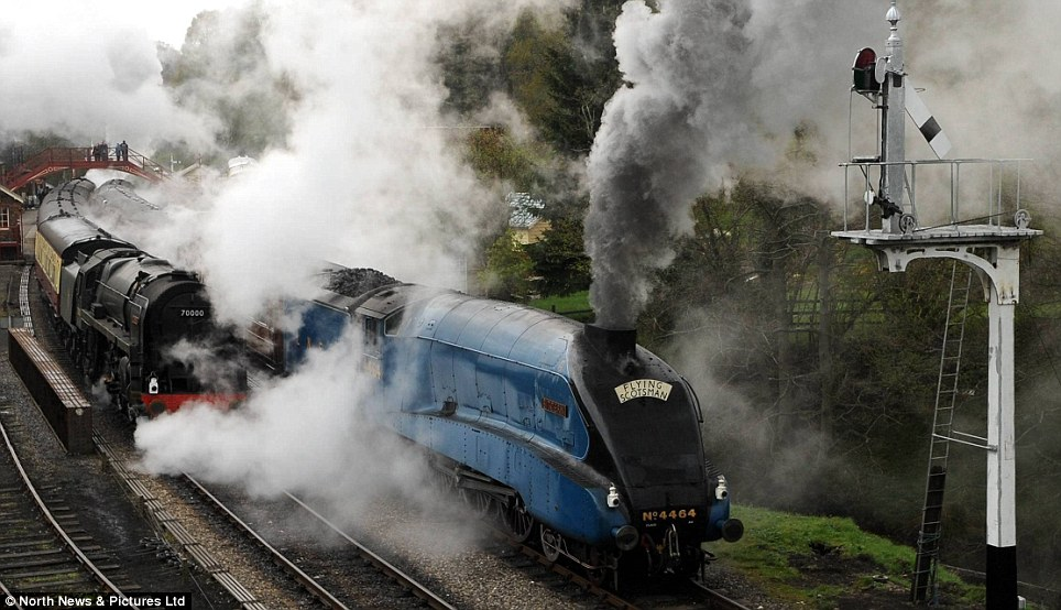 Majestic: The famous 4464 Bittern locomotive charges through Goathland Station, North Yorkshire, as the Spring Steam Gala gets underway