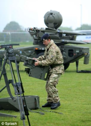 Training time: A member of the Royal Artillery aims the Starstreak High Velocity Missile System, part of the ground based air defence systems that may be deployed during the Olympics, at Blackheath, London