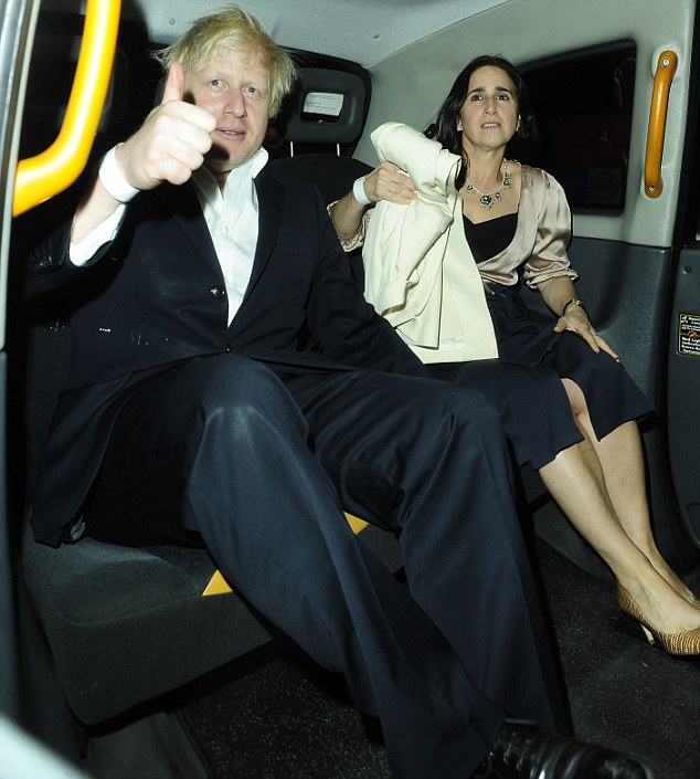 Confident: A typically ruffled Boris Johnson gives a thumbs up as he gets into a taxi with wife Marina after they visited the Rose Club in Marylebone on Thursday night
