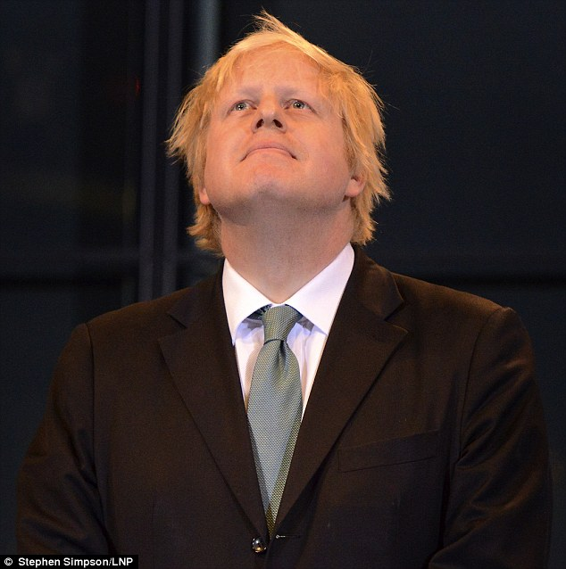 Thank heavens: A relieved Boris Johnson stares up to the sky as the results are read out