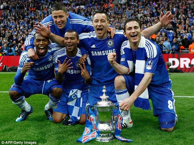 Triumphant: Lampard and some of his Chelsea teammates (L-R) Daniel Sturridge, Gary Cahill, Ashley Cole and John Terry celebrate on Saturday