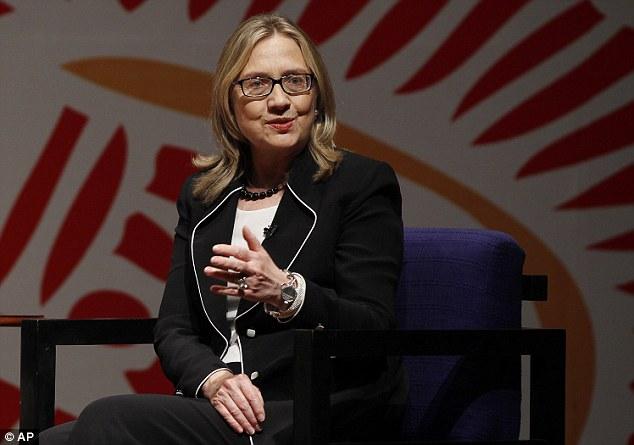Demure: Hillary addresses students in Dhaka, Bangladesh. She said she wanted to 'take some deep breaths'