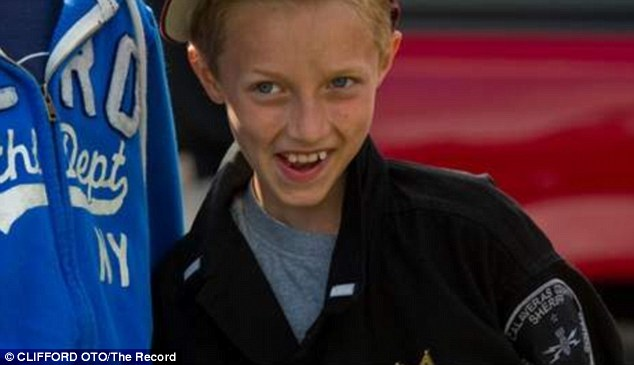 Bomb squad: The youngster, who has battled leukemia for half his life, wanted more than anything to join the Explosive Ordinance Unit for a day