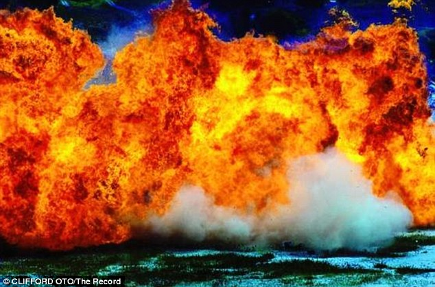 Fireball: The Hollywood shot uses a small about of explosives but a lot of fuel to give the dramatic fiery effect