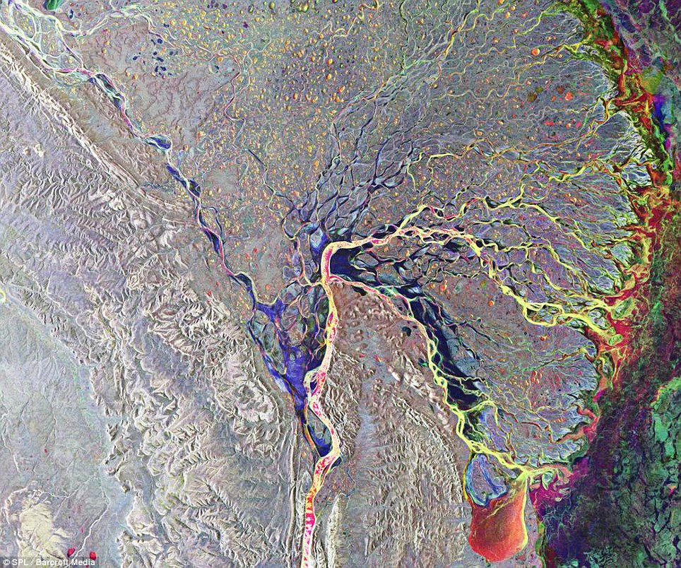Psychedelic: Another image of the Lena delta in Russia, with different sediments adding to the colourful scene
