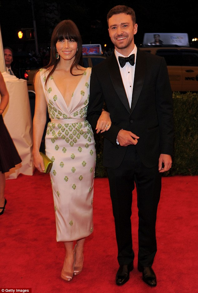 Showbiz royalty: Jessica and Justin arrives arm-in-arm at NYC's Metropolitan Museum of Art on Monday night