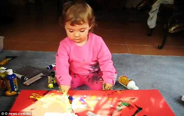 Painting since the age of two: Aelita's cheapest works are selling for more than £3,000 each