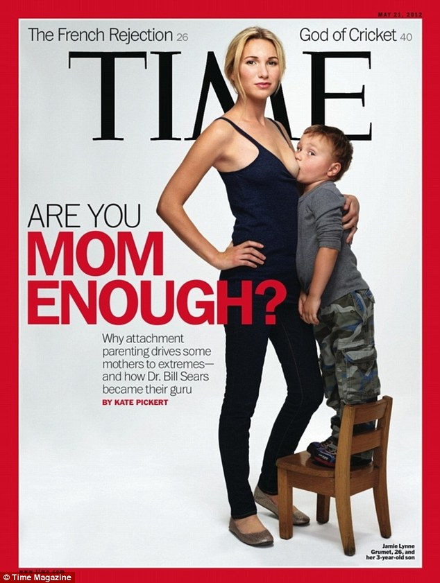 Touchy subject: Ms Grumet appeared on the cover of Time magazine (above) as an attachment parent