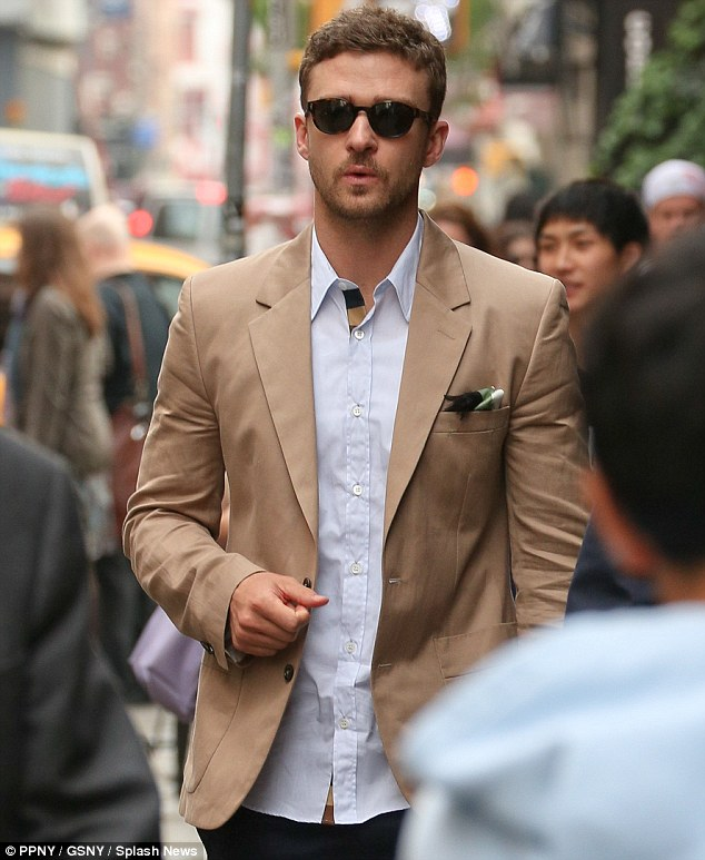 Dapper: Timberlake was spotted leaving his New York hotel earlier today