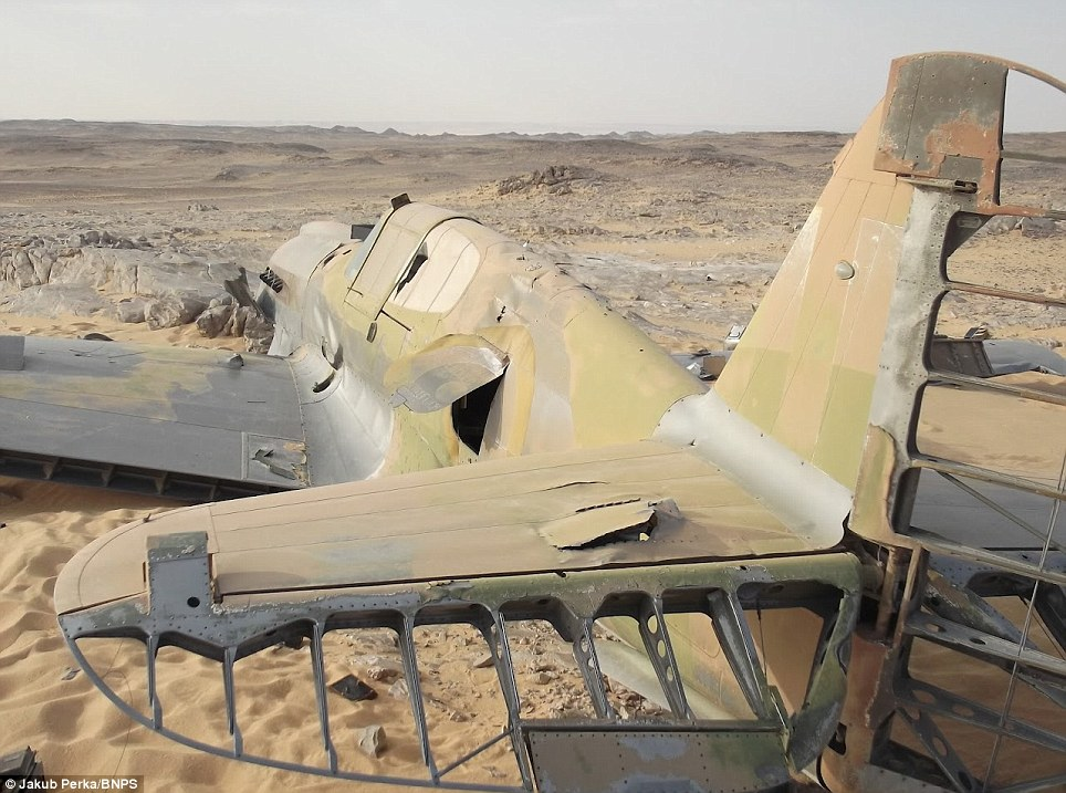 Time capsule: Aside from the damage it sustained during impact, the aircraft appears to have been almost perfectly preserved in the sands of the Sahara