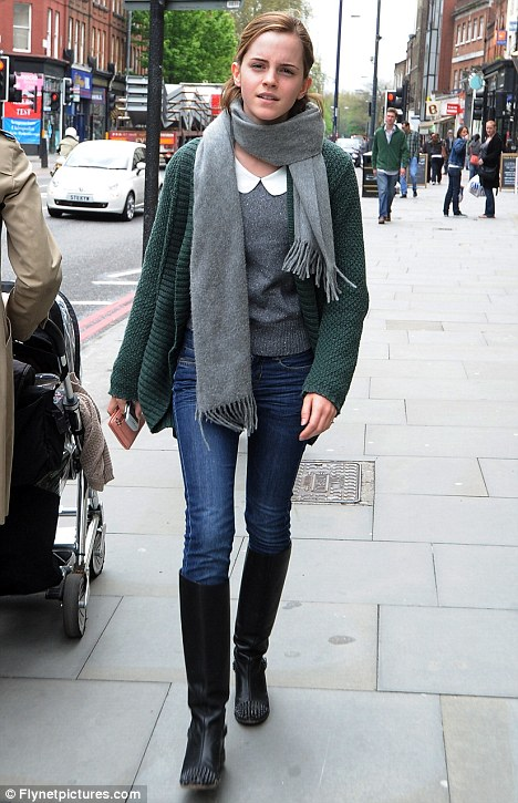 Back to basics: Emma Watson was spotted looking for more like her normal self as she headed out in North London this week